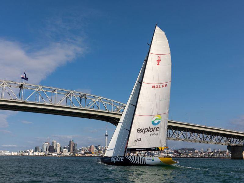 AC68 sailing under the Auckland Harbour Bridge