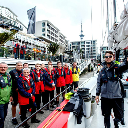 Passengers getting ready to sail on an America's Cup Yacht