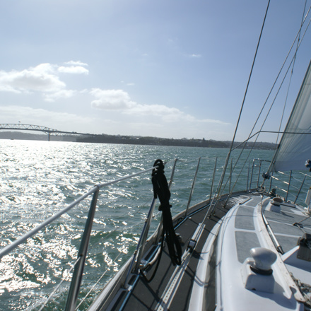 Auckland Harbour Bridge in view whilst sailing